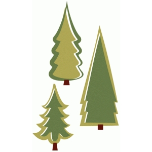 three pine trees