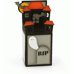 a2 box card: halloween haunted house