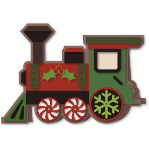 train shaped christmas a7 card