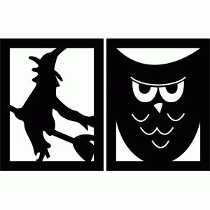 halloween flags - witch and owl