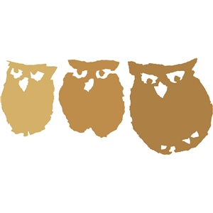 three woodcut owls