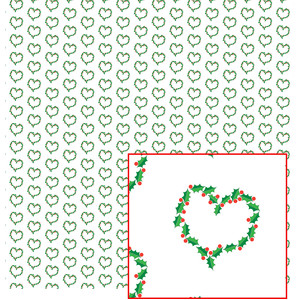 christmas holly heart paper