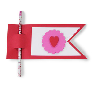 valentine flag pencil card
