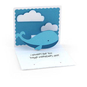 3x3 valentine pop up card whale