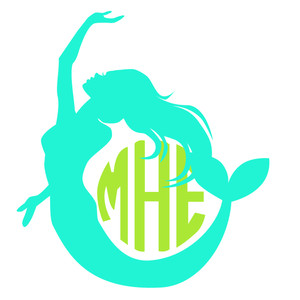 mermaid arch monogram frame