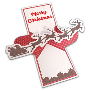 twist pop-up santa and reindeer card
