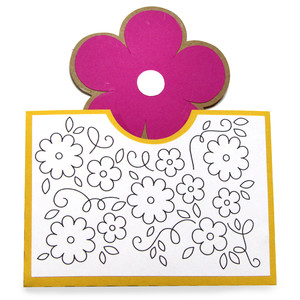 pocket coloring card - flower