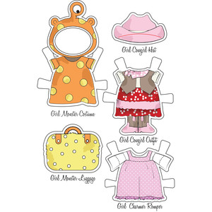 little friends paper set-adventure girl bear