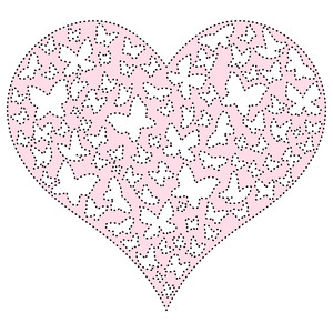sketch & stitch butterflies heart