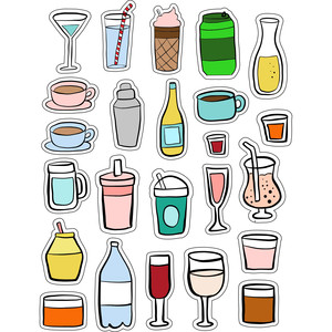 ml bottles and drinks stickers