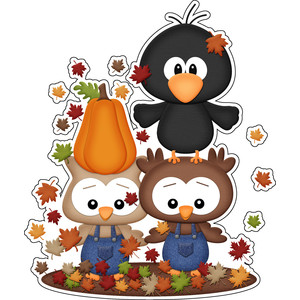 autumn owl friends sticker