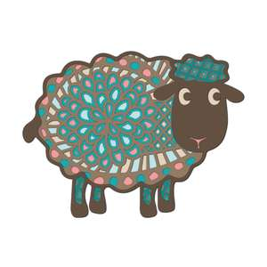 multi layer mandala sheep lamb farm animal