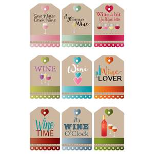 colorful wine-themed gift tags