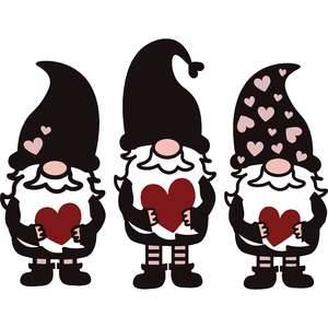 valentine's day gnome trio