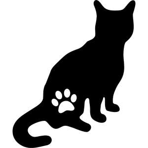 cat and paw silhouette