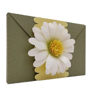 envelope with 3d daisy flowers