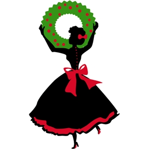 lady hanging wreath silhouette
