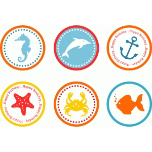 summer sea life tags toppers circles