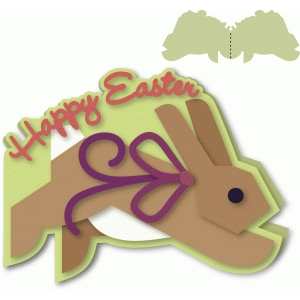 "bunny shaped ""happy easter"" a-2 card"