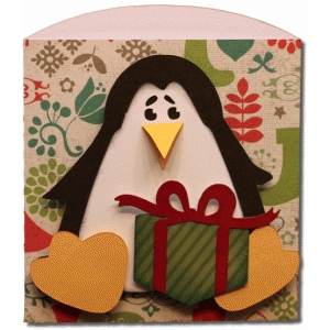 penguin with gift short envelope bag