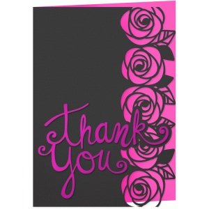 roses 5x7 thank you card