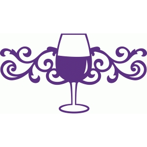 wine glass damask