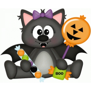 girl halloween bat with candy