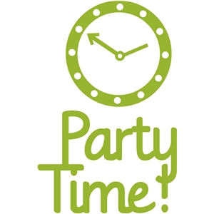 'party time' party logo phrase set