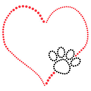 rhinestone heart with dog paw