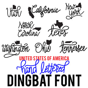 united states of america hand lettered dingbat font