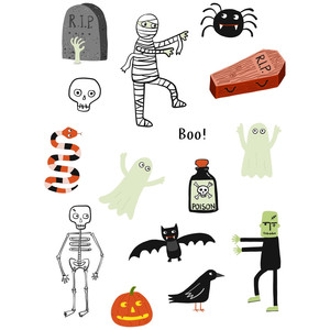 cute spooky halloween stickers