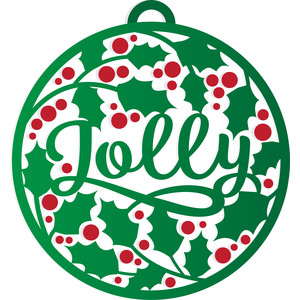 christmas jolly holly bauble decoration