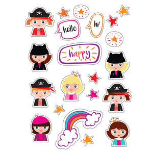 ml princess and pirates stickers