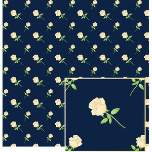 cream roses on navy blue pattern
