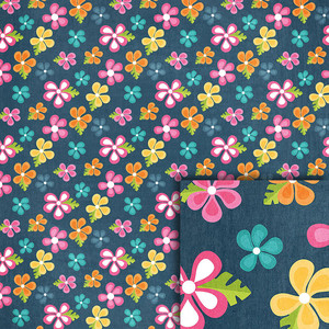 blue tropical flowers background paper