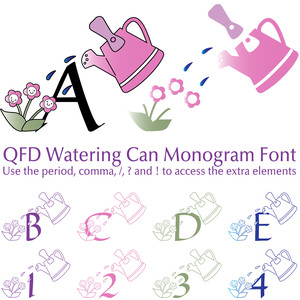 qfd watering can monogram font