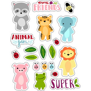 ml lovely cute animals stickers