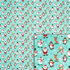christmas ice skaters background paper