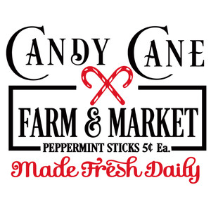 candy cane farm & market sign