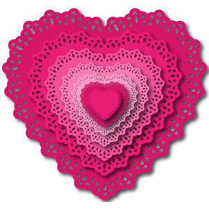 nested doily hearts