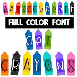 get crayons color font