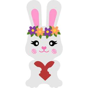 bunny with flowers and heart