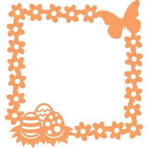 easter eggs flowers and butterfly square frame