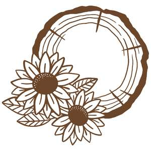 sunflower wood slice monogram frame
