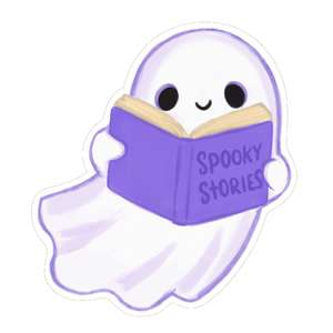 kawaii ghost with spooky stories book