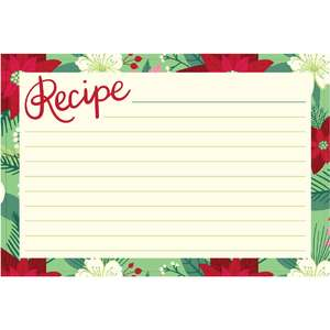 holiday cookbook recipe card floral