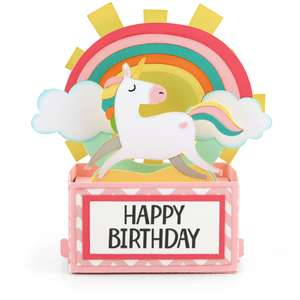 rectangle pop up card unicorn