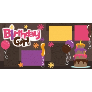 birthday girl 2 page scrapbook kit