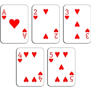playing cards - hearts a-5