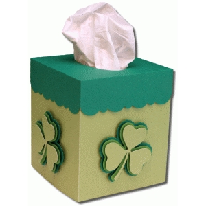 square st. patrick's day tissue box